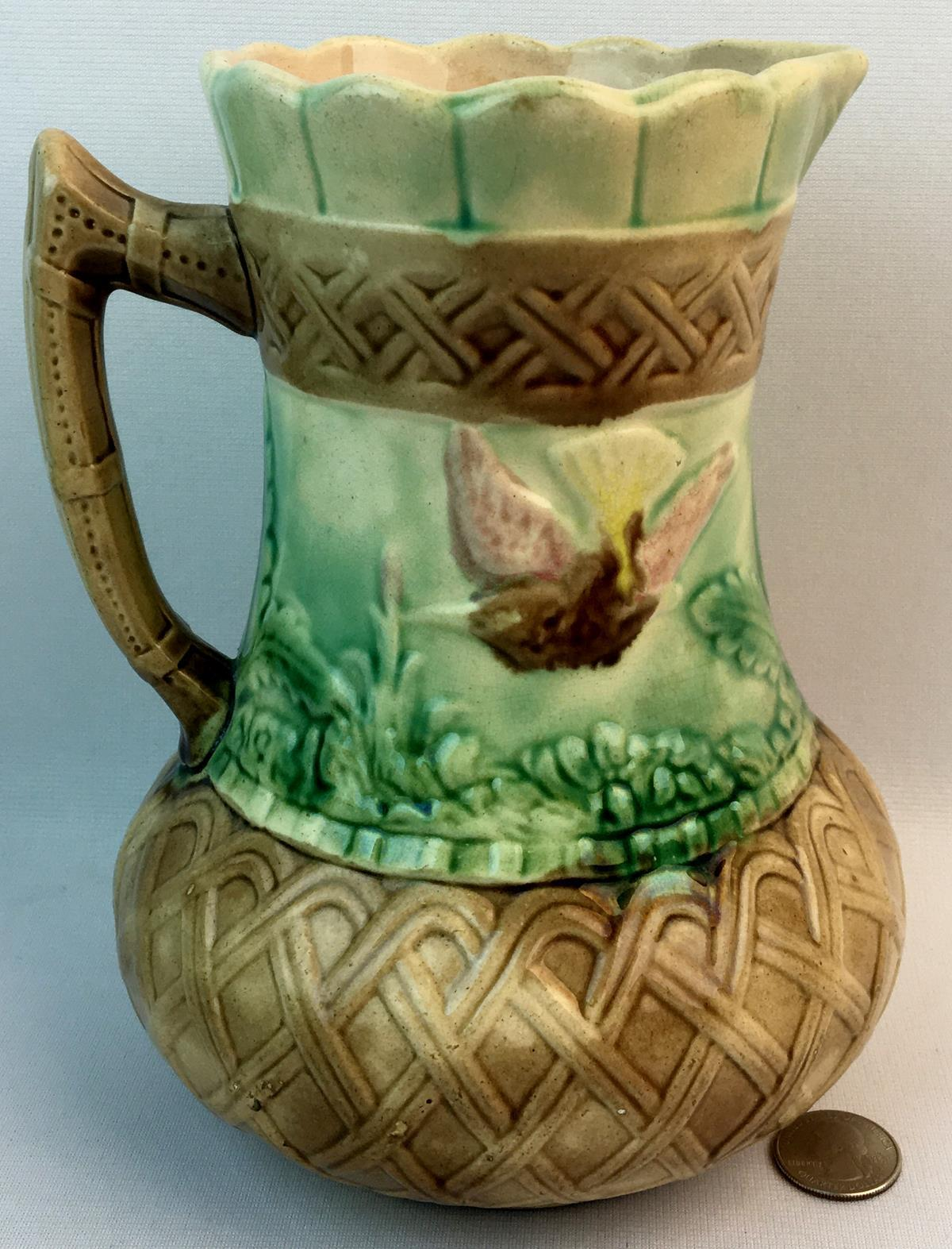 Antique 1800's Early Majolica Bulbous Base Pitcher w/ Bird, Butterfly & Basketweave Motif
