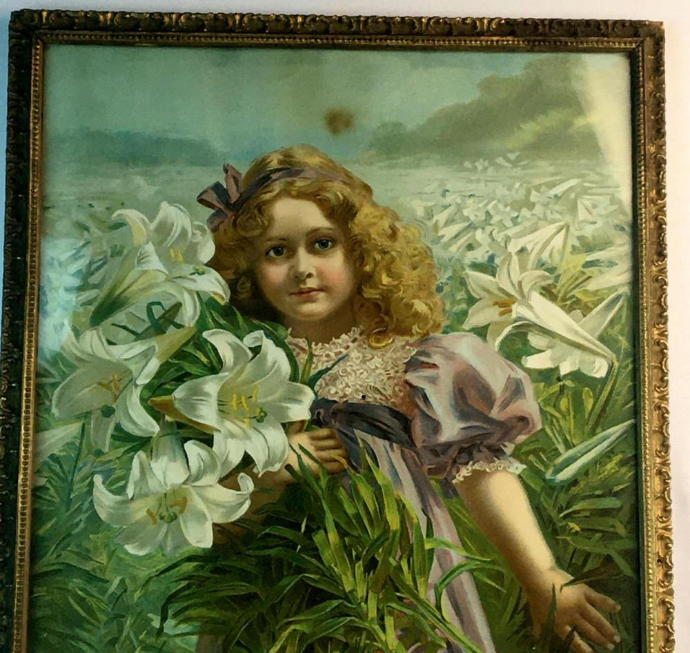 Antique c. 1890 Young Girl in Purple Dress Standing w/ White Trumpet Flowers Chromolithograph Print FRAMED