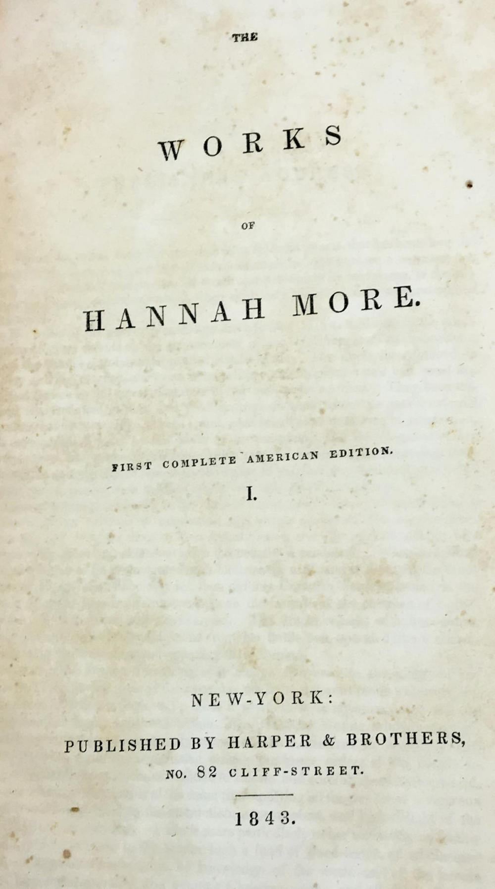 1843 The Works Of Hannah More First Complete American Edition Vol. 1