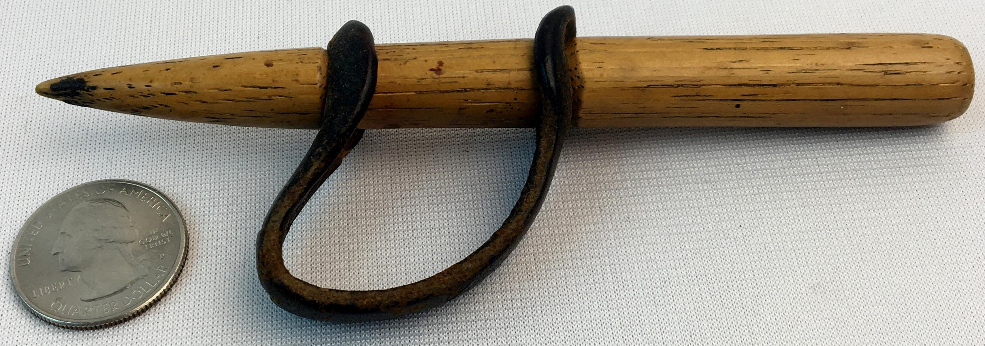 Antique Primitive Wood & Leather Corn Husking Peg