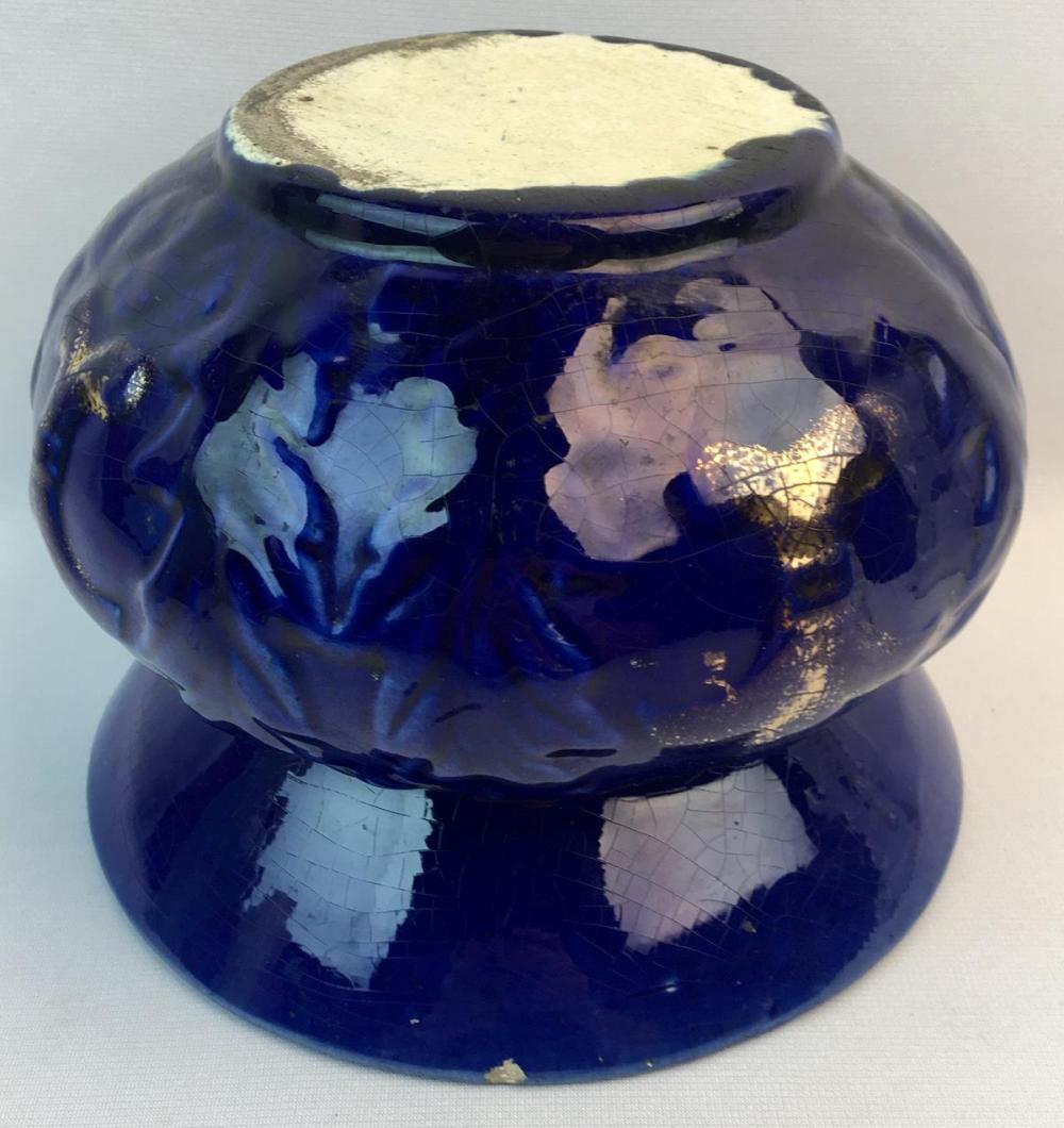 Antique Cobalt Blue French Art Pottery Spittoon w/ Relief Fleur De Lis and Leaves Motif