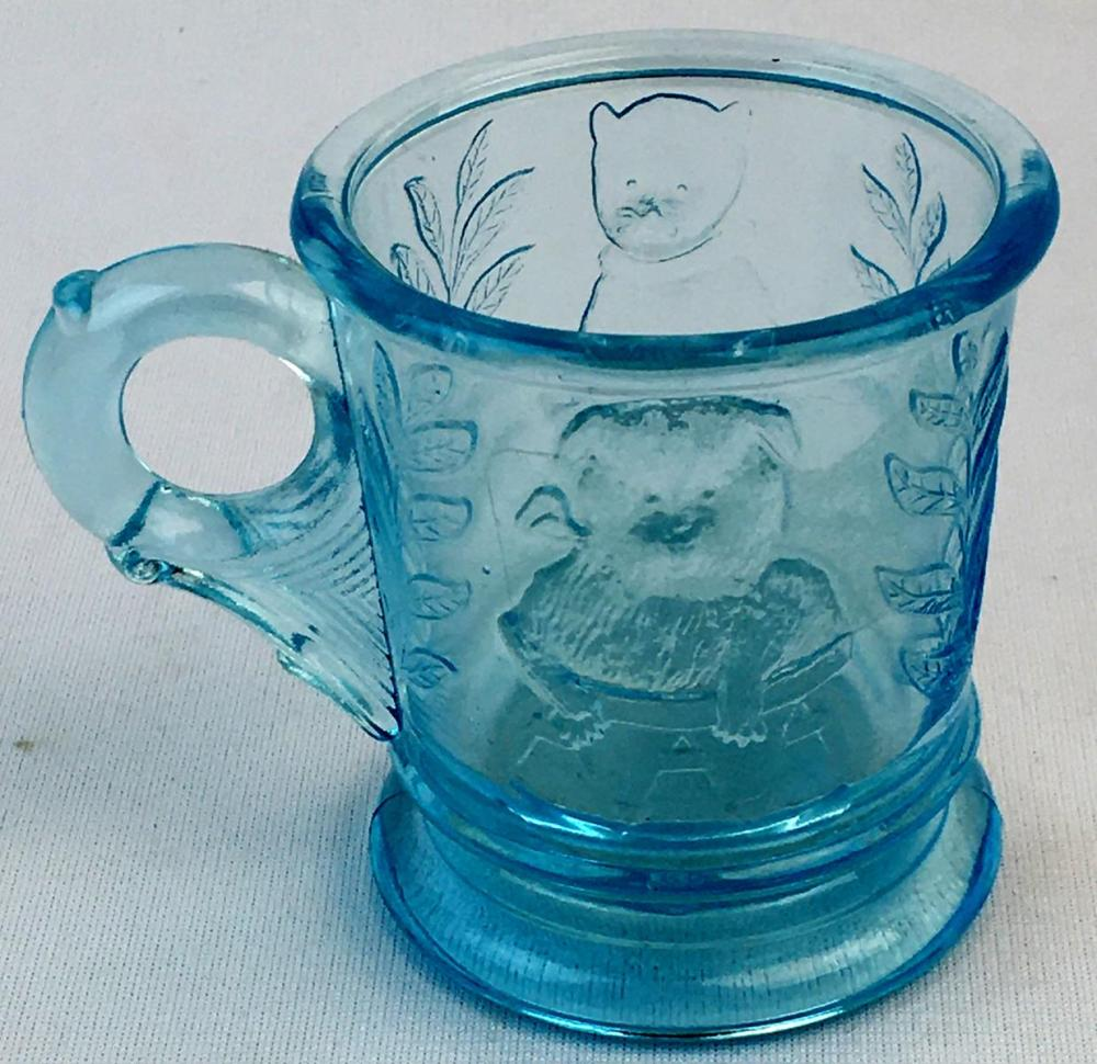 Vintage Mosser Glass Aqua Cat in Basket and Dog Relief Child's Mug