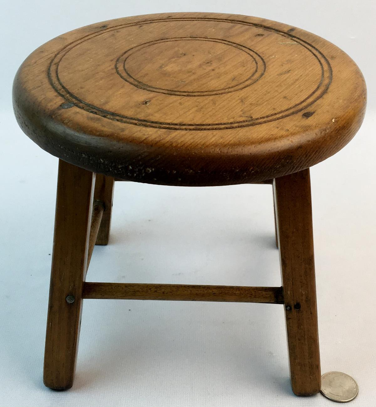 """Antique 19th Century Small Wooden Stool 7"""" Tall"""