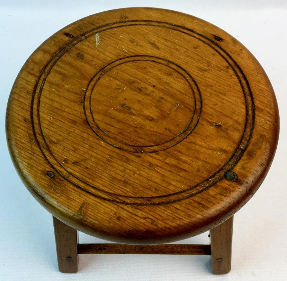 Antique 19th Century Small Wooden Stool 7