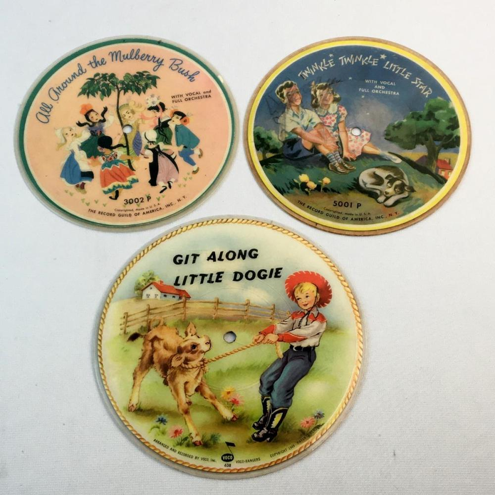 Vintage 1940's Lot of 3 Misc. Children's Story Records (Buster The Bronco Buster, Twinkle Twinkle Little Star, Etc..)