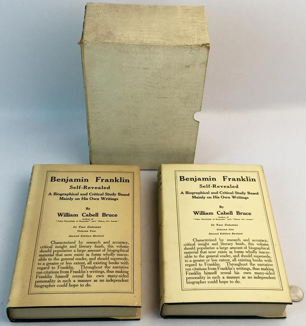 1923 Benjamin Franklin Self Revealed 2 Volume Set by William Cabell Bruce w/ Dust Jackets and Case