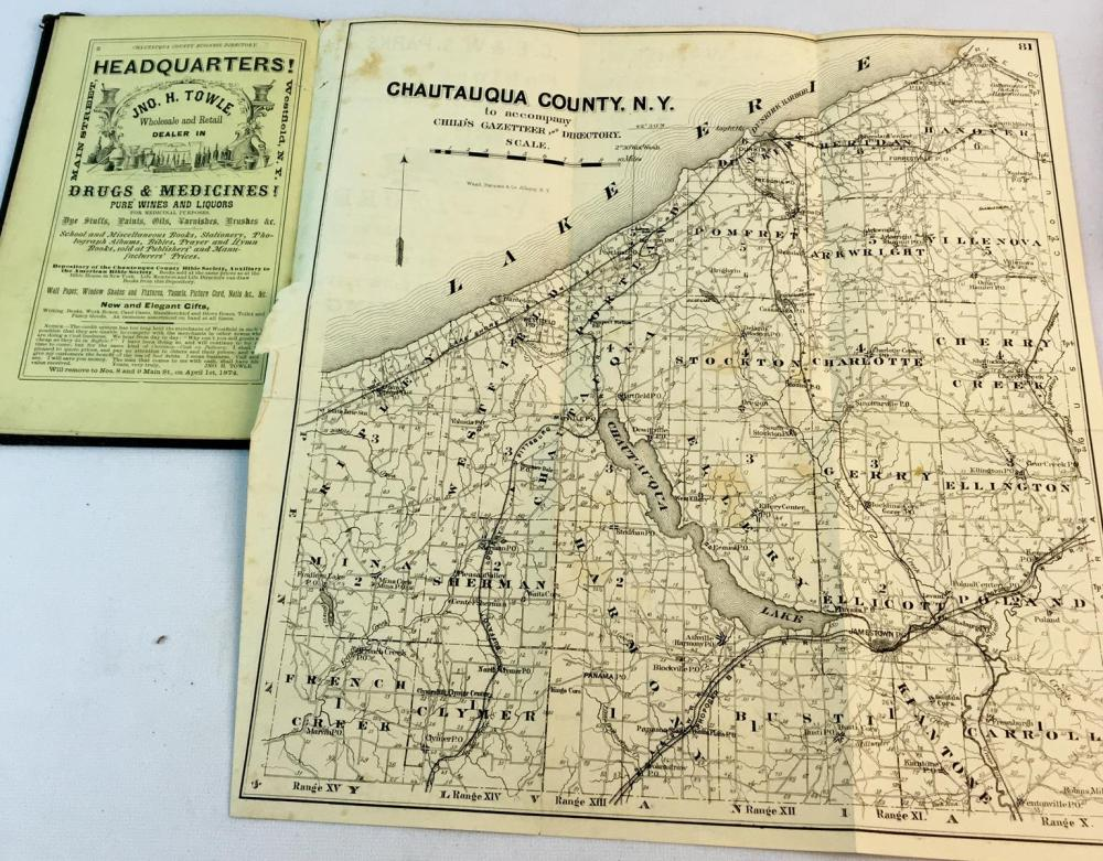 1873 Gazetteer and Business Directory of Chautauqua County, N.Y by Hamilton Child Illustrated FIRST EDITION