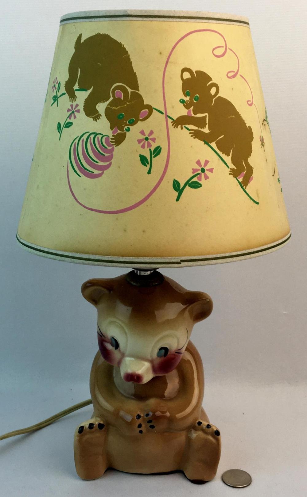 Picture of: Lot Vintage C 1940 Tot Line Bear Baby Nursery Lamp Light W Original Shade Works