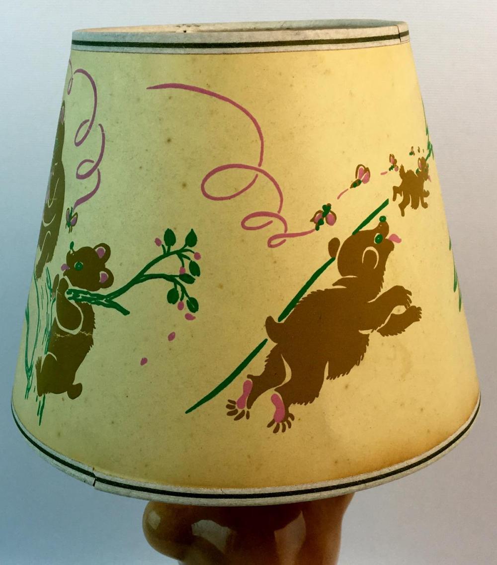 Lot Vintage C 1940 Tot Line Bear Baby Nursery Lamp Light W Original Shade Works