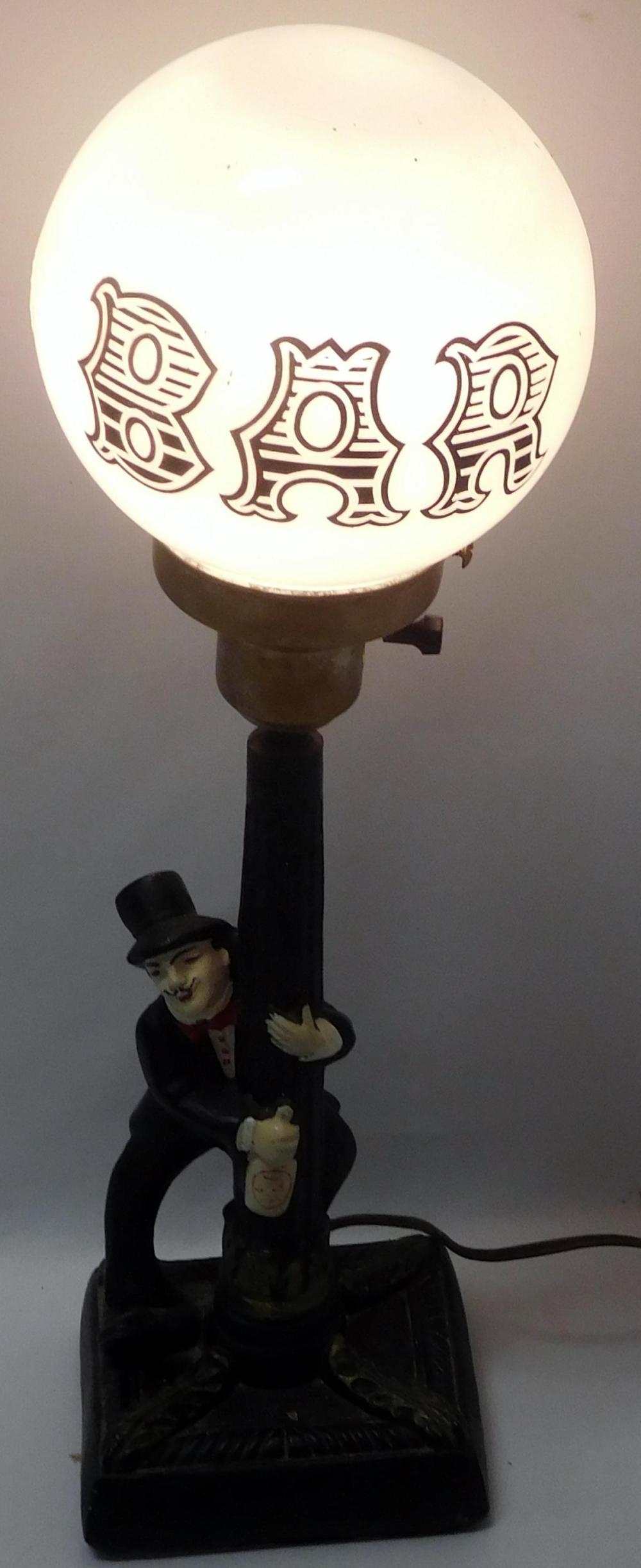 Vintage Chalkware Drunk Man Hanging On A Lamp Post Bar