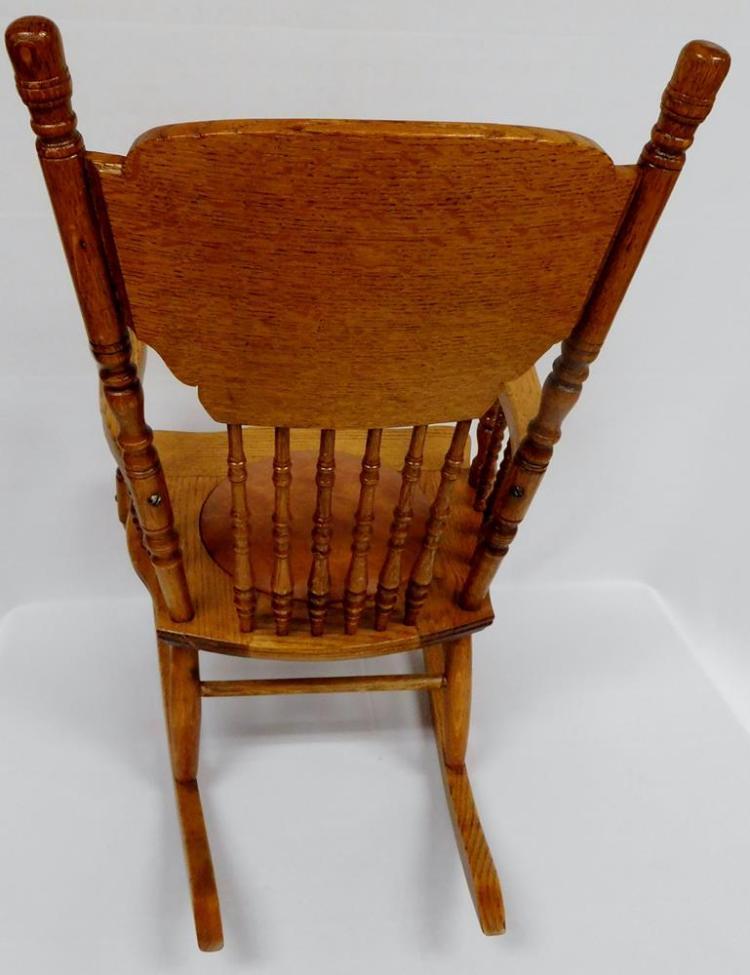 Surprising Rare Antique 19Th Century Oak Pressed Back Childs Rocking Chair Lamtechconsult Wood Chair Design Ideas Lamtechconsultcom
