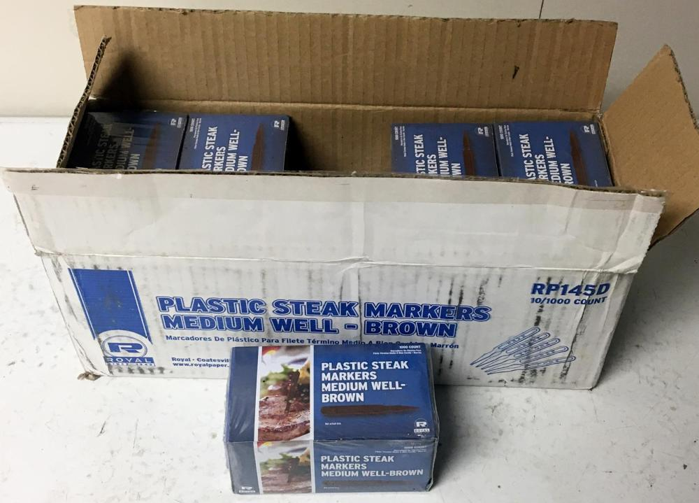 Full Case of Royal Plastic Brown Medium Well Steak Markers