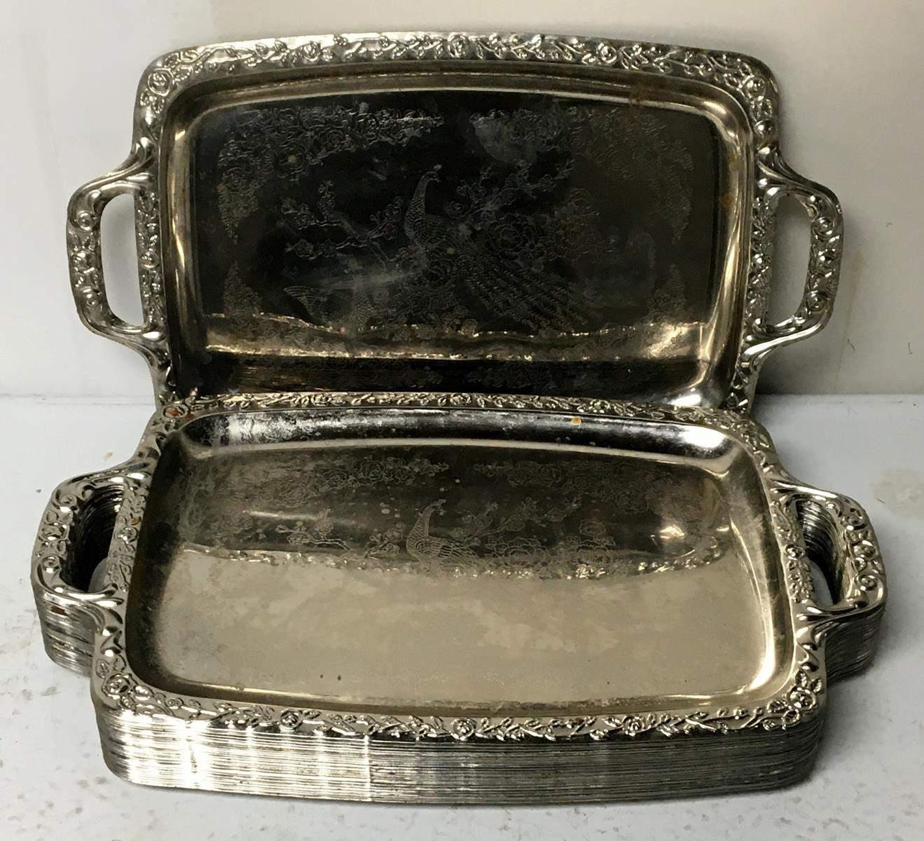 Vintage Lot of 41 Silver-Plate Peacock Themed Trays