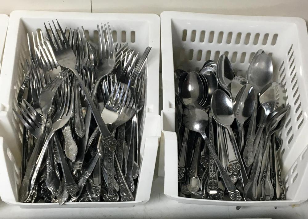 Large Lot of Stainless Flatware (Some in Divided Trays)