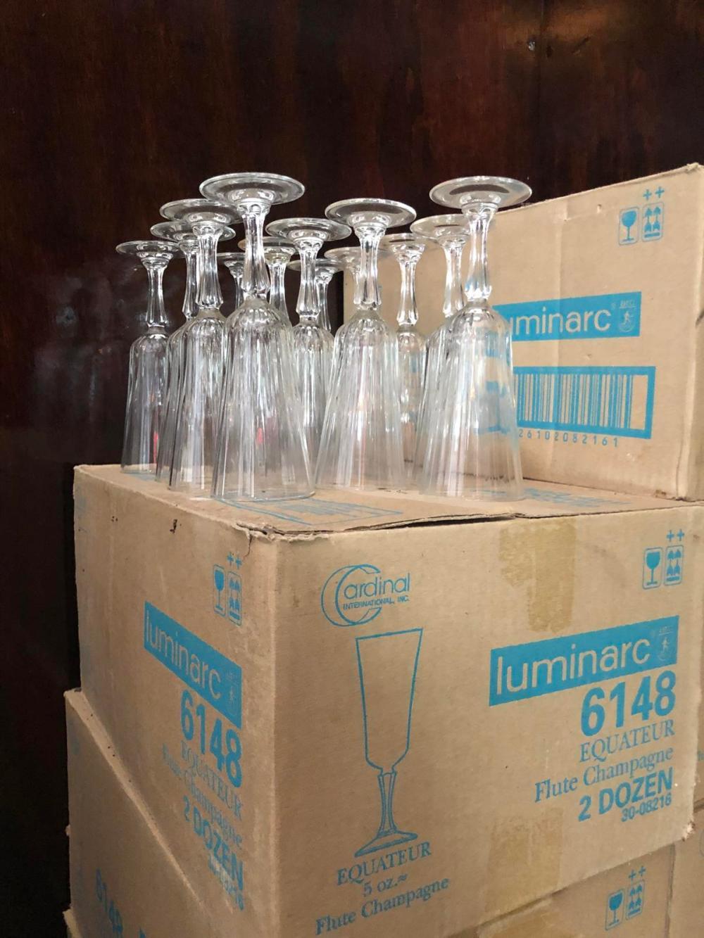 Large Lot of 421 Luminarc 5 oz. Flute Champagne Glasses