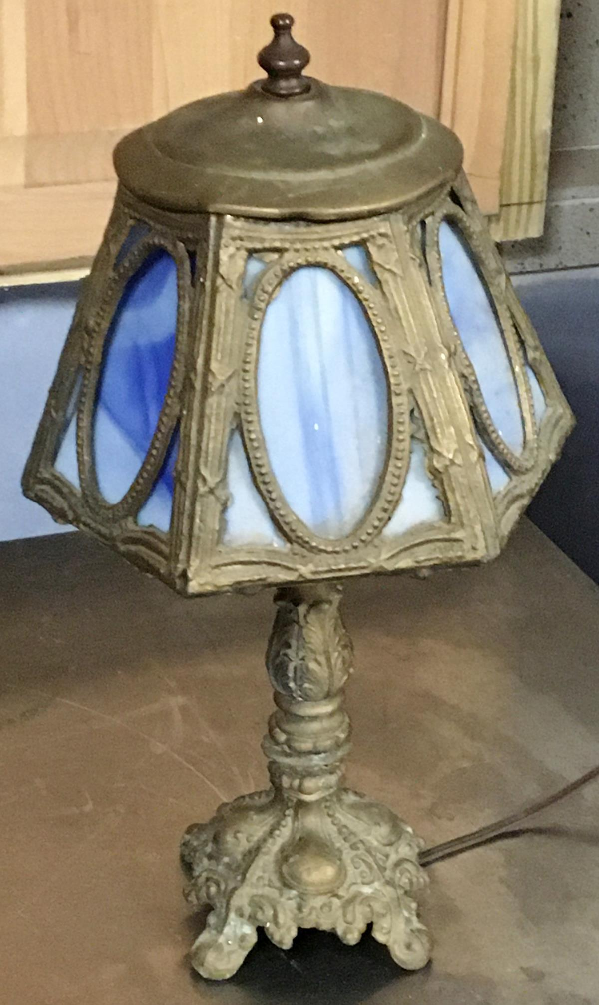 Vintage 6 Panel Blue Stained Glass Lamp WORKS