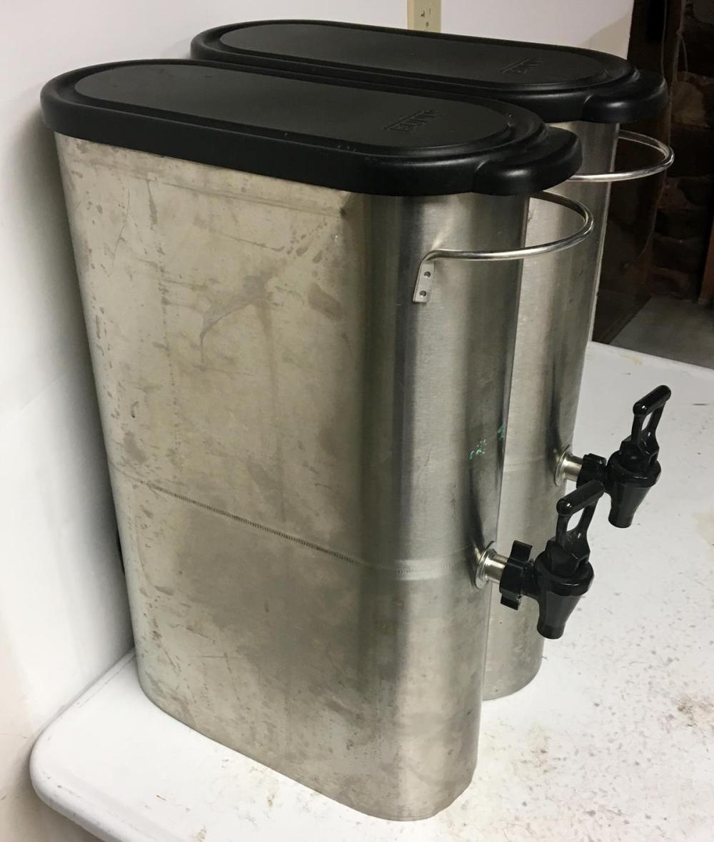 Lot of 2 Bunn Stainless 3.5 Gallon Narrow Iced Tea Dispensers