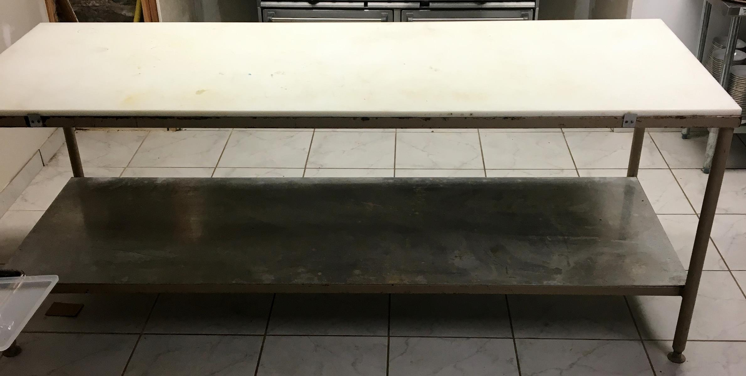"""Stainless Steel and Steel Adjustable 2 Tier Commercial Poly Top Cutting Table 96"""" Long"""