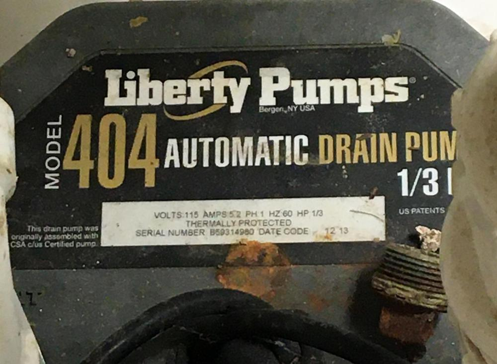 Liberty Pumps Model 404 Sink Drain Pump System, HP 1/3, Switch Actuation Vertical Float