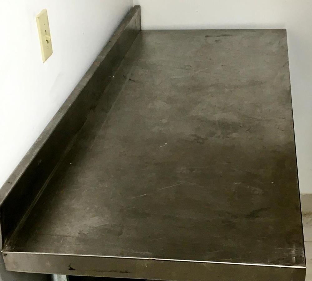 NSF Regency Stainless Steel Commercial Kitchen 2 Tier Adjustable Table w/ Backsplash