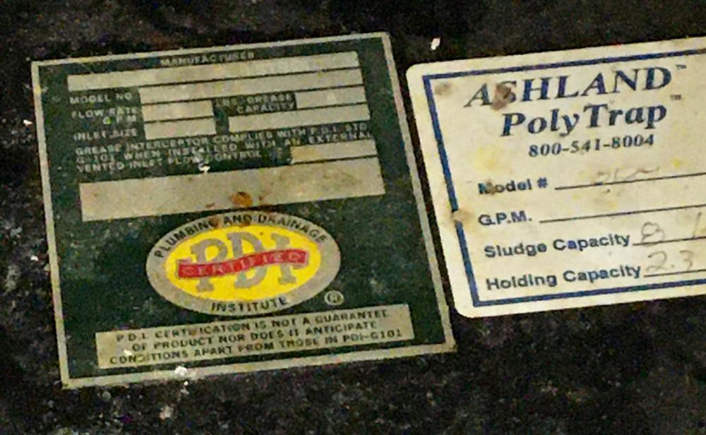 Ashland Poly Grease Trap P.D.I.