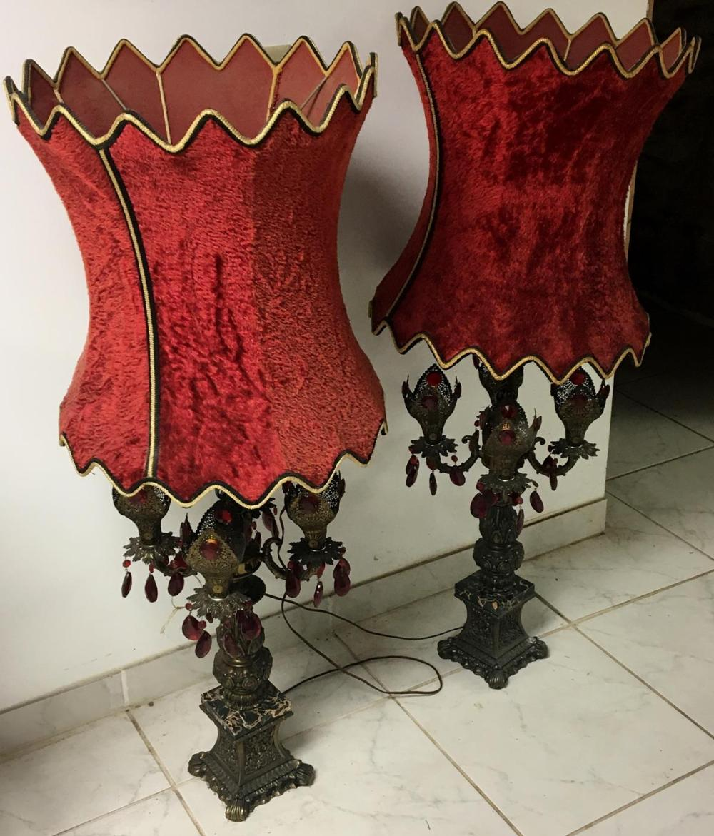 Vintage Pair of Large Boudoir Lamps w/ Red Velvet Shades and prisms WORKS
