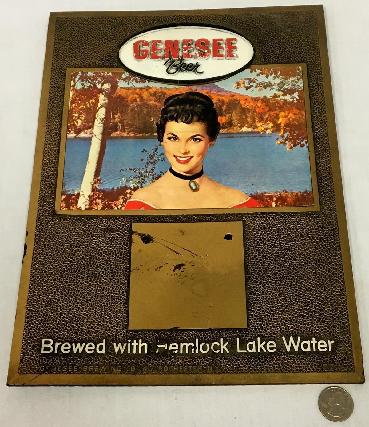 """Vintage c. 1960 Genesee Beer """"Brewed With Hemlock Lake Water"""" Calendar Holder Bar Sign"""