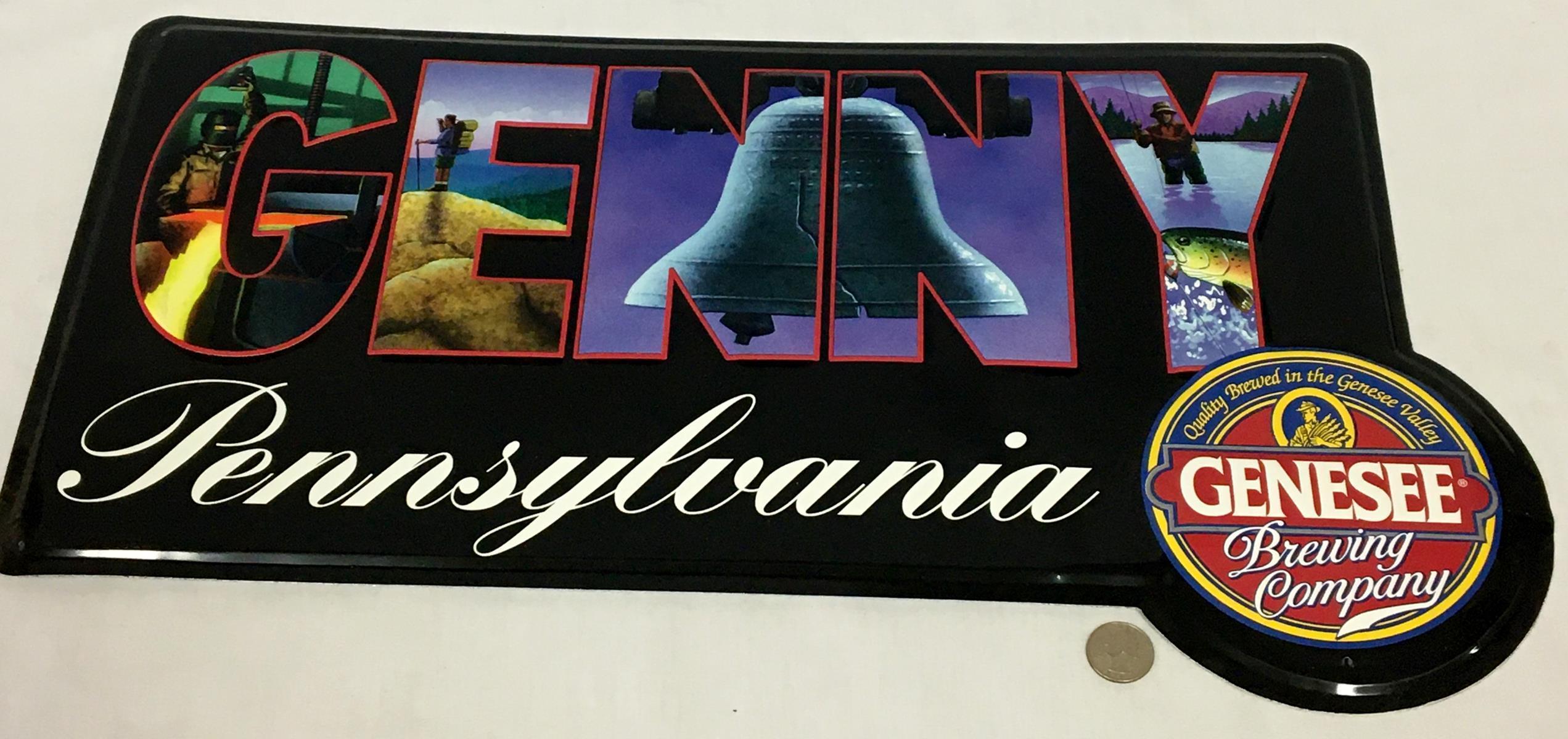 "Vintage 1980's Genesee Brewing Co. ""Genny Pennsylvania"" Metal Tin Sign NOS"