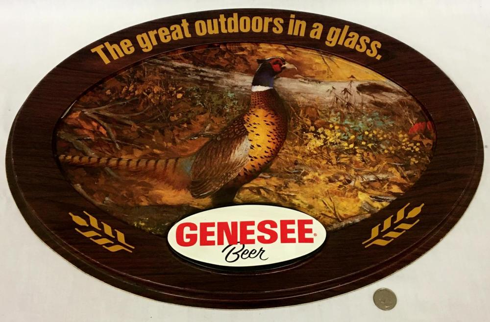 """Vintage 1970's Genesee Beer """"The Great Outdoors in a Glass"""" 3D Ring-Necked Pheasant Bar Sign"""