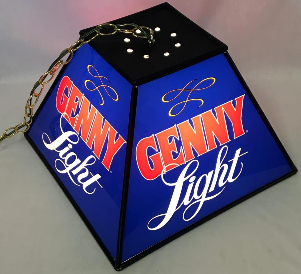 Vintage NOS 1980's Genny Light 4 Sided Hanging Lamp Lighted Sign w/ Original Box WORKS