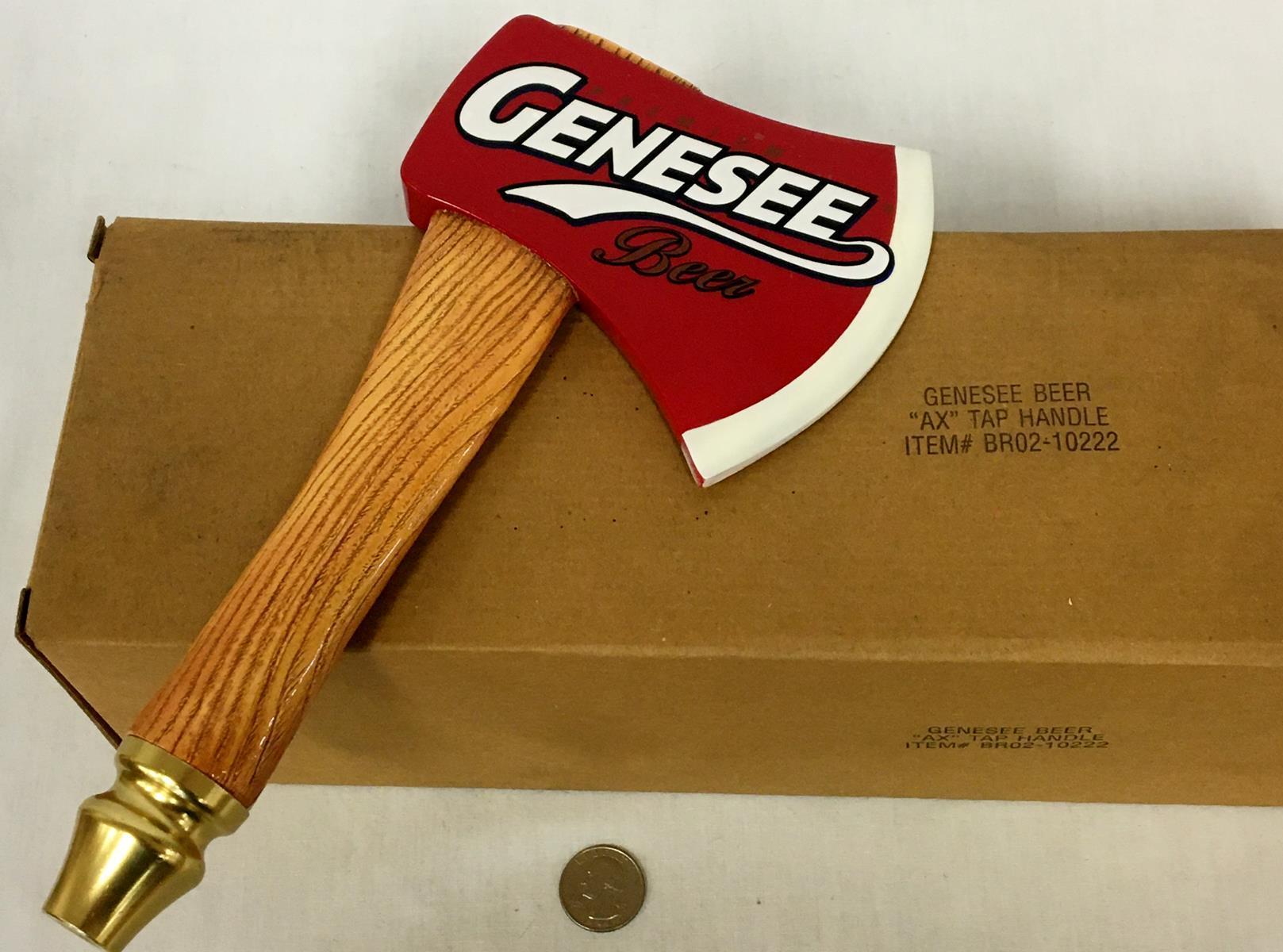 Premium Genesee Beer Axe Tap Handle w/ Original Box NEW OLD STOCK