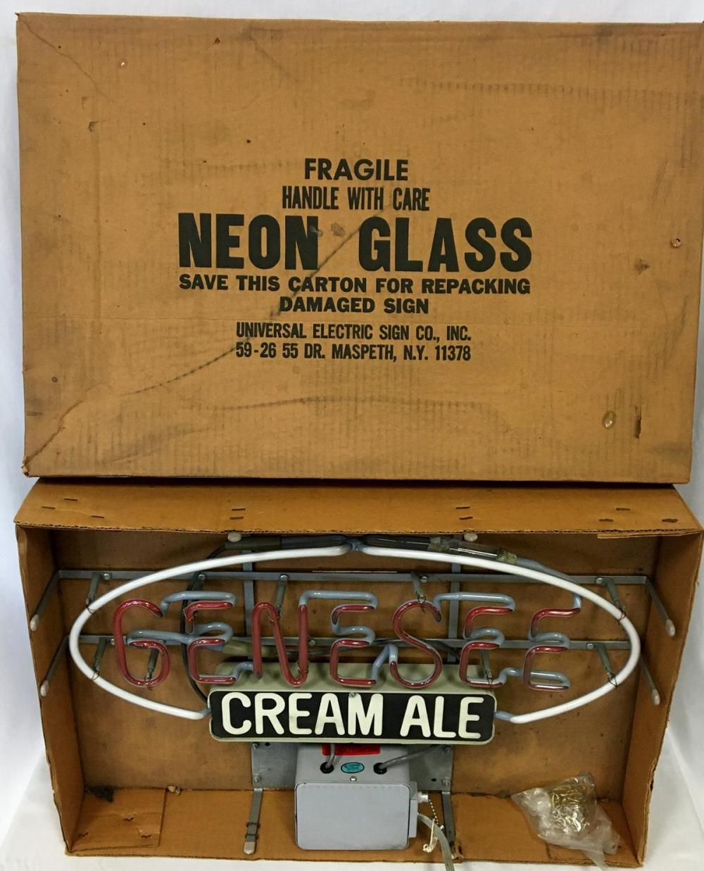 Vintage NOS 1970's Genesee Cream Ale Neon Beer Lighted Sign w/ Original Box WORKS