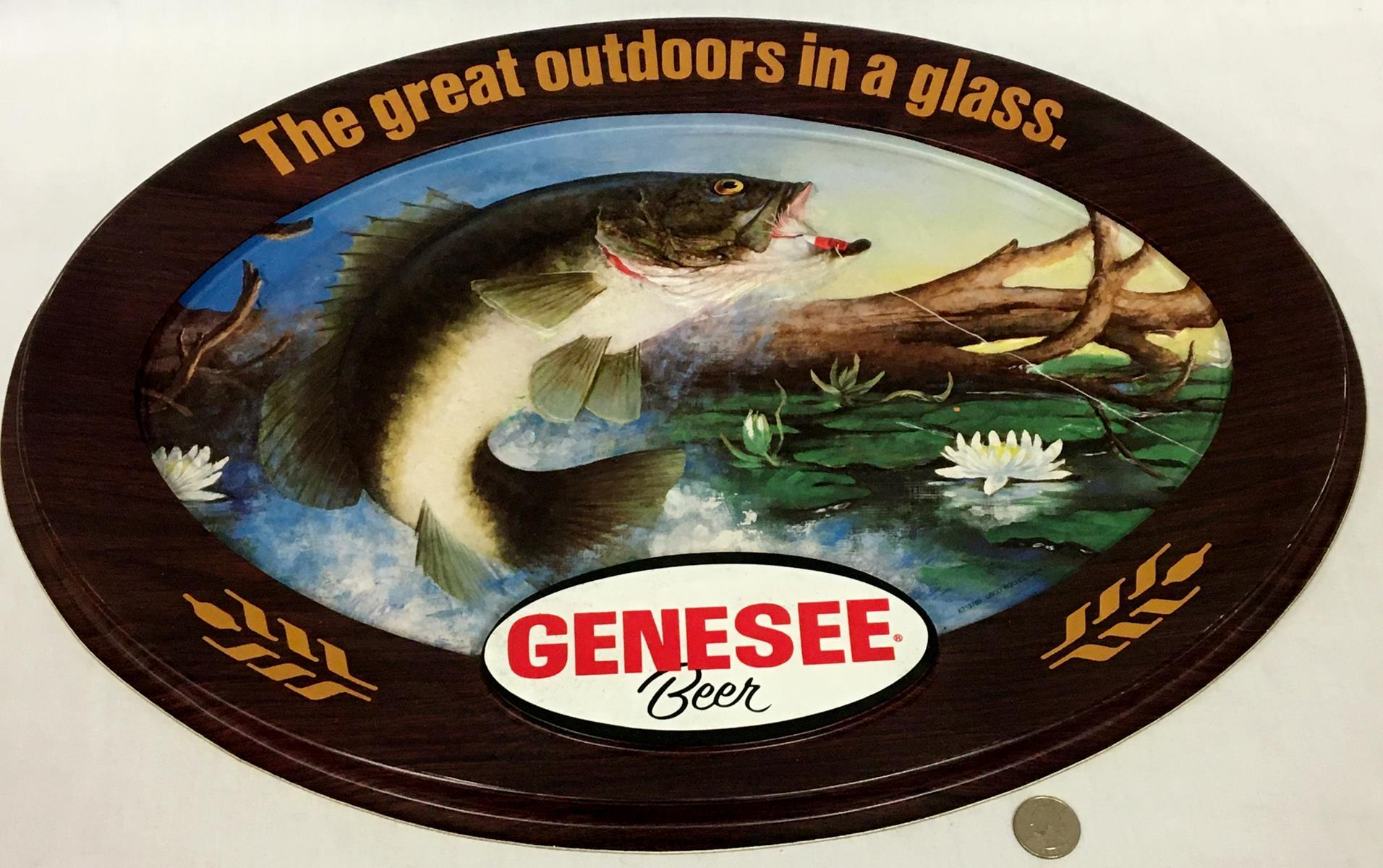 "Vintage 1970's Genesee Beer ""The Great Outdoors in a Glass"" 3D Fishing Scene Bar Sign"