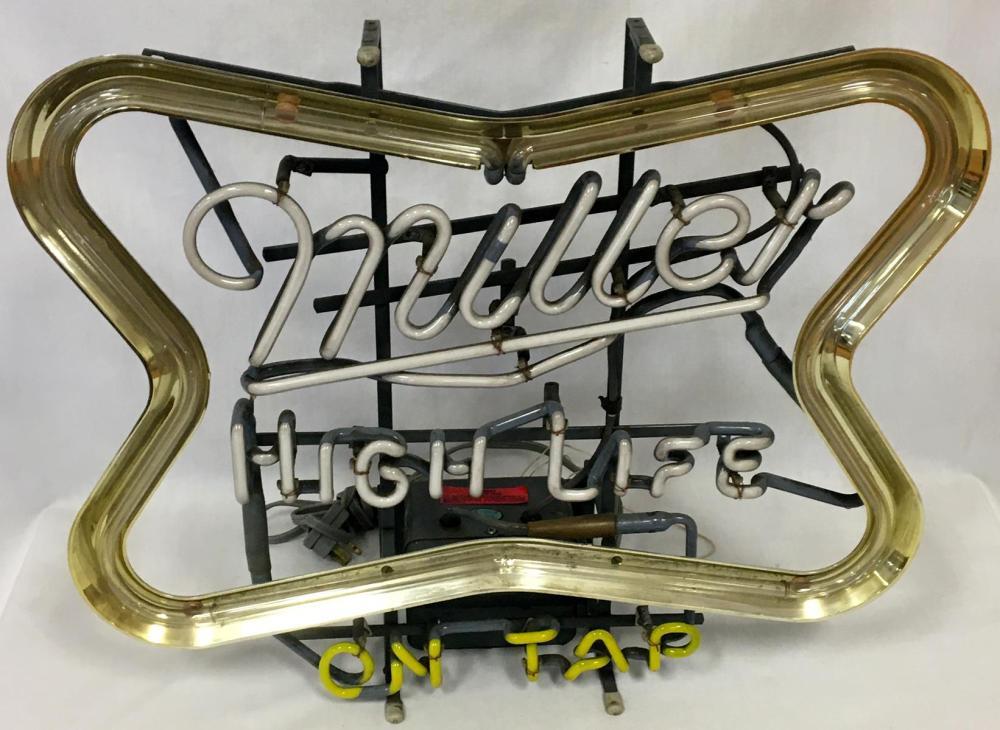 Vintage 1982 Miller High Life on Tap 3 Color Neon Beer Lighted Sign WORKS