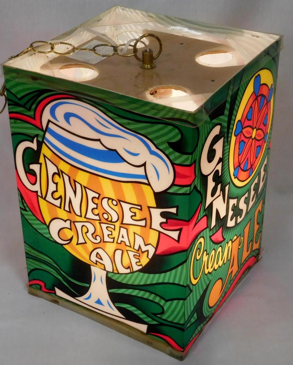 RARE Vintage 1960's Genesee Cream Ale Beer Lantern 4 Sided Hanging Rotating Lighted Sign