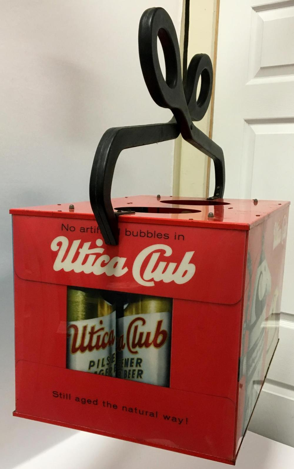 RARE Vintage 1960's Utica Club Turning 6 Pack / Ice Block Lighted Hanging Sign W/ Schultz & Dooley WORKS