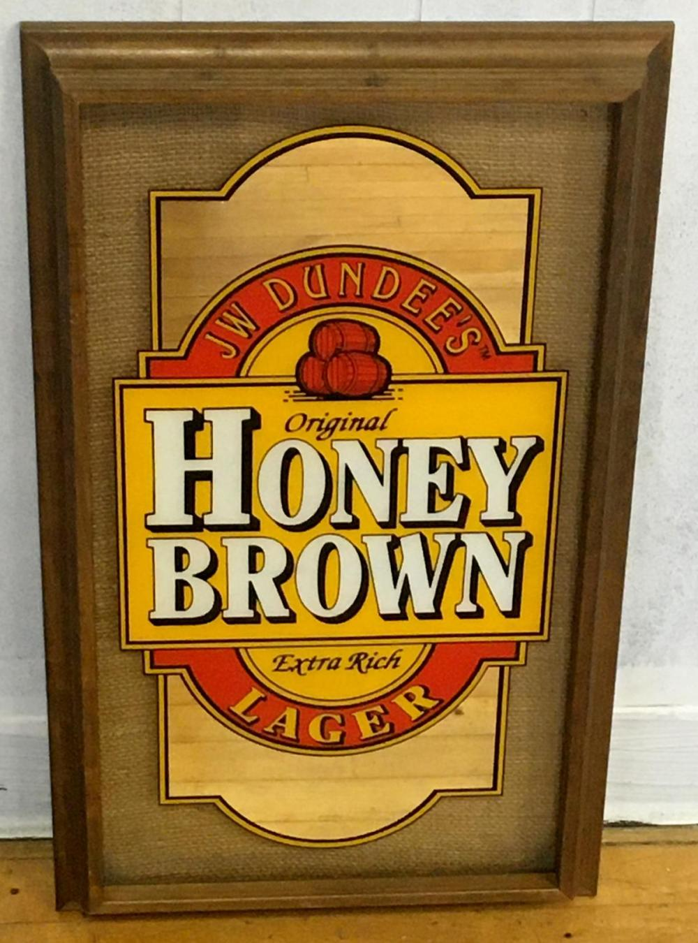 JW Dundee's Original Honey Brown Lager Burlap Mirror Sign NEW OLD STOCK