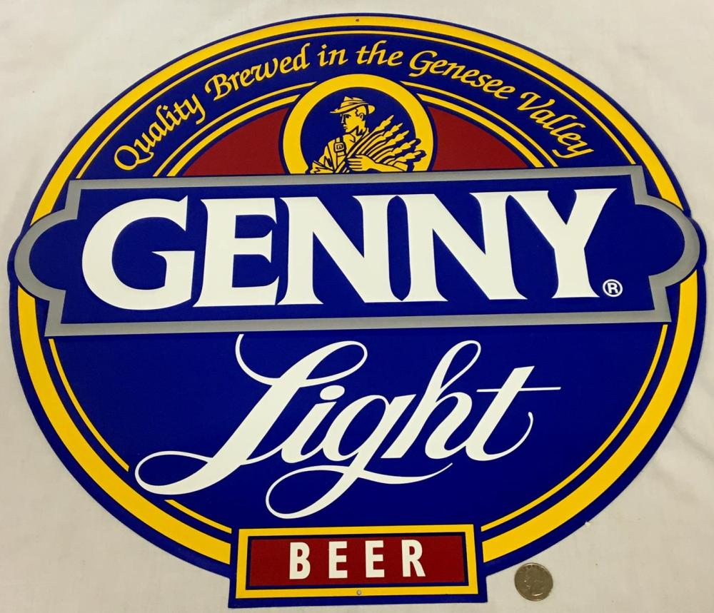 "Vintage Genny Light Beer Metal Tin Sign NEW OLD STOCK 21"" Diameter"