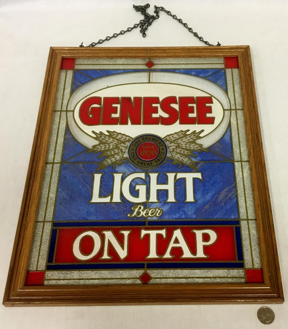 """Vintage 1980's Genesee Light Beer """"On Tap"""" Stained Glass Like Hanging Sign w/ Chain"""
