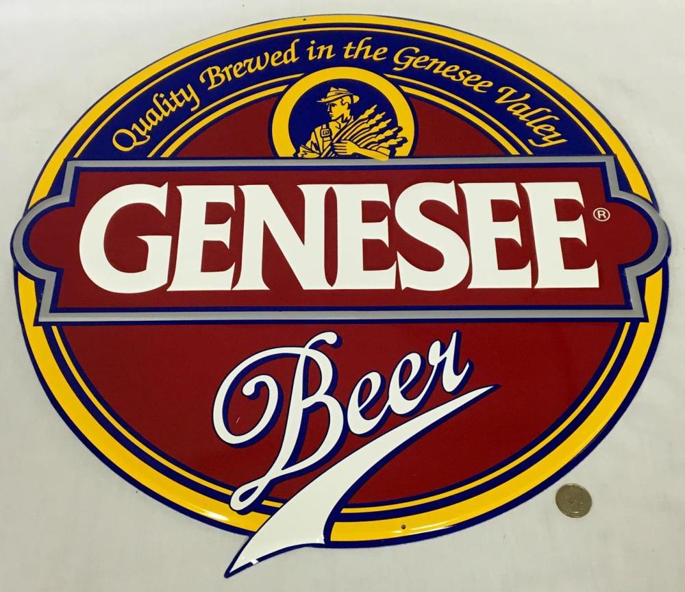 """Vintage Genesee Beer Metal Tin Sign NEW OLD STOCK 21"""" Diameter"""