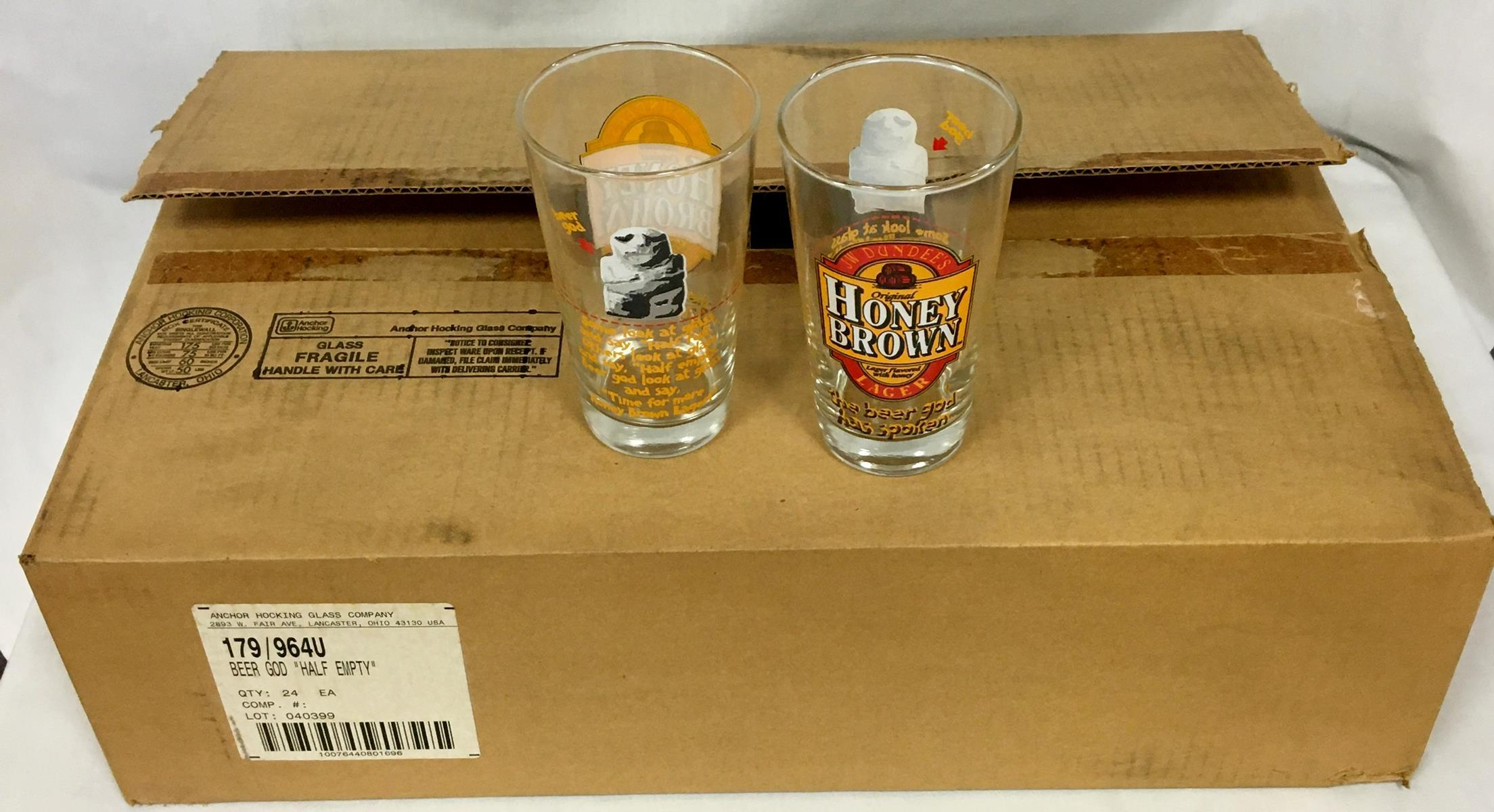 """JW Dundee's Original Honey Brown Lager """"Beer God"""" 16 oz. Pint Glass 24 ct Case NEW OLD STOCK"""