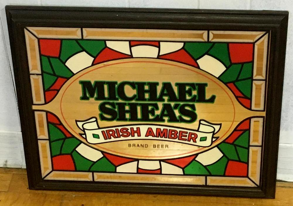 Michael Shea's Irish Amber Beer Stained Glass Look Mirror Sign NEW OLD STOCK
