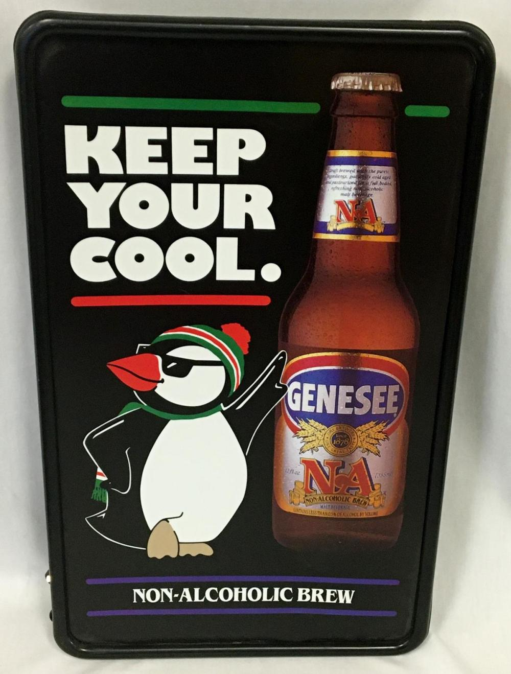 "Vintage 1980's Genesee N.A. ""Keep Your Cool"" Penguin Lighted Sign NEW OLD STOCK Works"