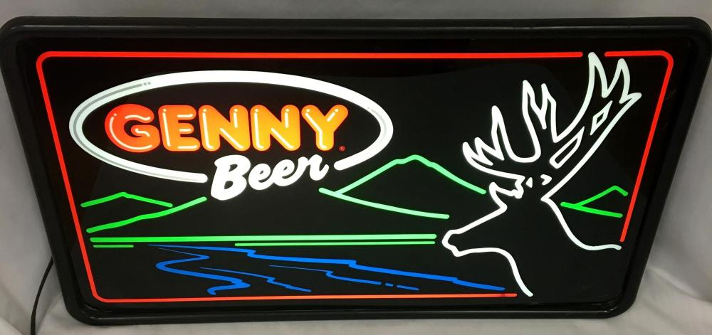 Vintage 1980's Genny Beer Deer Scene Lighted Sign NEW OLD STOCK Works