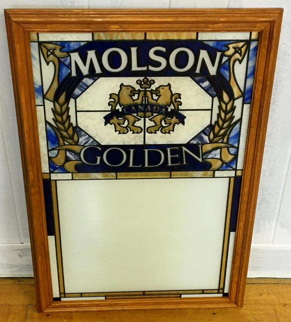 Vintage 1980's Molson Golden Beer Stained Glass Like Message Board NEW OLD STOCK