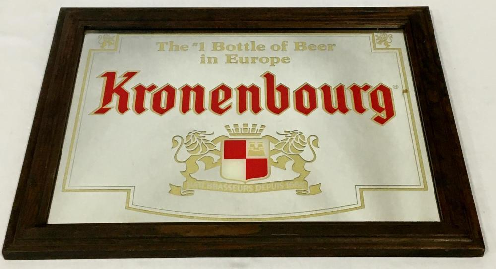 Vintage 1970's Kronenbourg European Beer Mirror Sign