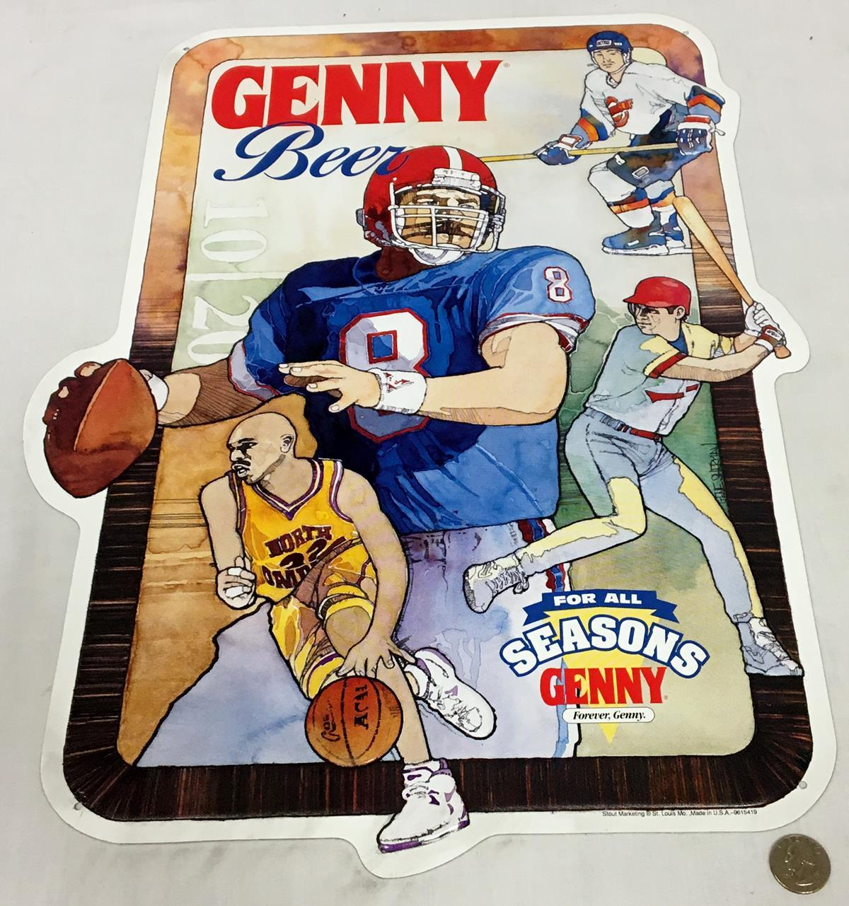 Genny Beer For All Seasons Sports Metal Tin Sign NEW OLD STOCK
