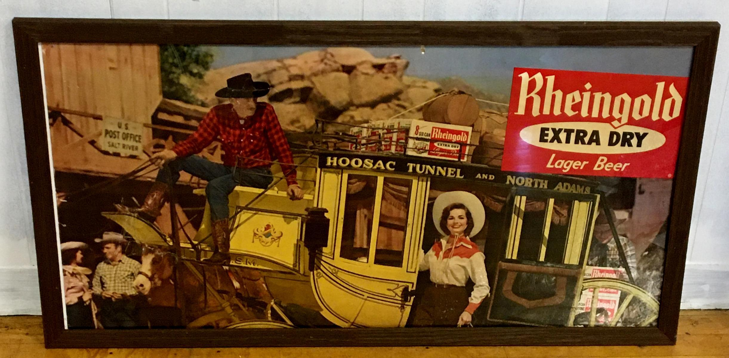 RARE Vintage 1958 Rheingold Extra Dry Lager Beer Miss Rheingold Madelyn Darron Heavy Stock Sign FRAMED