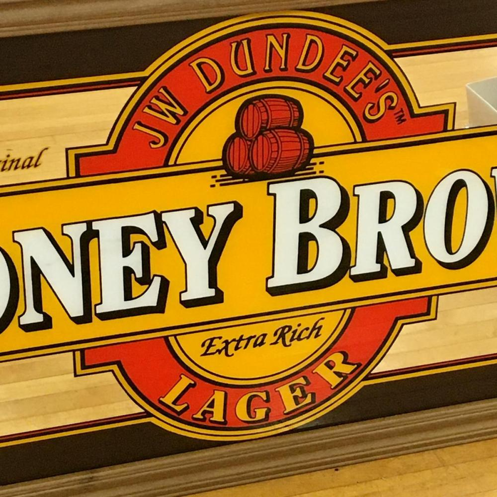 JW Dundee's Original Honey Brown Lager Mirror Sign Large 52