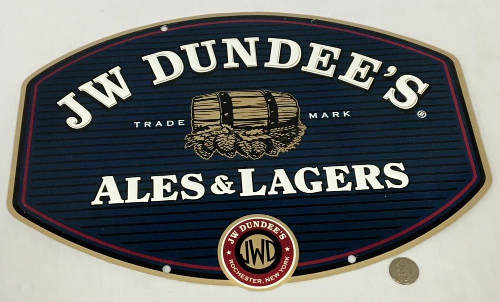 JW Dundee's Ales & Lagers Metal Tin Sign NEW OLD STOCK